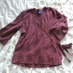 Apt. 9 Maroon Berry Faux Wrap Sweater